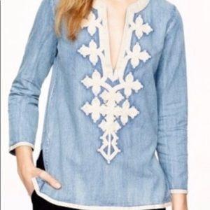 J Crew denim embroidered tunic